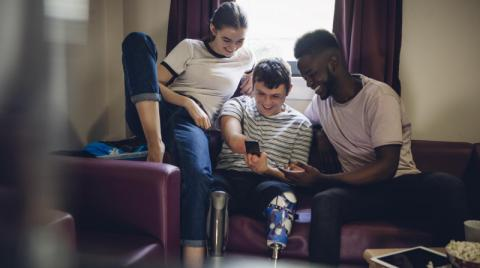 Student with disabilities with his friends