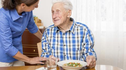 Elderly man receiving care