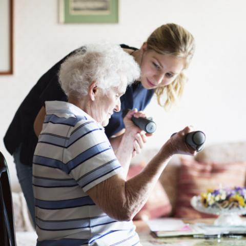Woman working with physical therapist at home