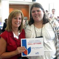 Kathleen A. Petkauskos, left, with Megan Northup, who nominated her for the Disability Mentoring Hall of Fame.