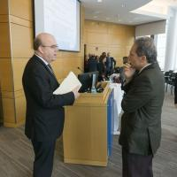 U.S. Rep. James P. McGovern and Jay Himmelstein, chief federal strategist, speak after teh ACA panel at UMass Medical School