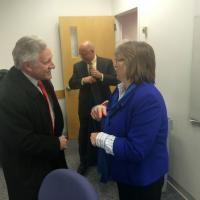Carlos E. Santiago, commissioner of Higher Education with Linda Cragin, director of the MassAHEC Network at UMass Medical School's Commonwealth Medicine division.