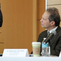 Jay Himmelstein, chief federal strategist at Commonwealth Medicine, listens to the ACA panel discussion at UMass Medical School