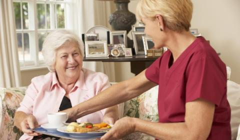 Elderly person being served dinner at home by caregiver