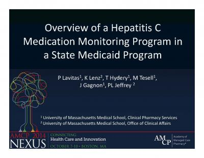 Overview of a Hepatitis C Medication Monitoring Program in a State Medicaid Program