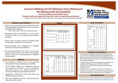 Image of Economic Wellbeing and Life Satisfaction Among Working and Non-Working Adults with Disabilities