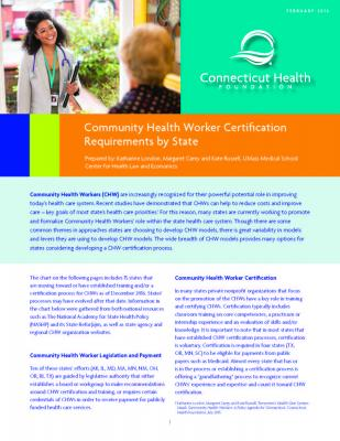 Community Health Worker Certification Requirements by State