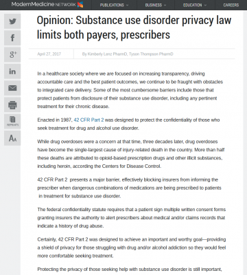 Op-Ed on substance abuse disorder privacy statute