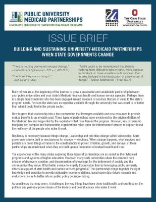 Building and Sustaining University-Medicaid Partnerships When State Governments Change