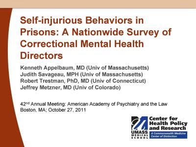 Cover from Self-Injurious Behaviors in Prisons: A Nationwide Survey of Correctional Mental Health Directors