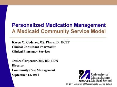 Cover of Personalized Medication Management: A Medicaid Community Service Model