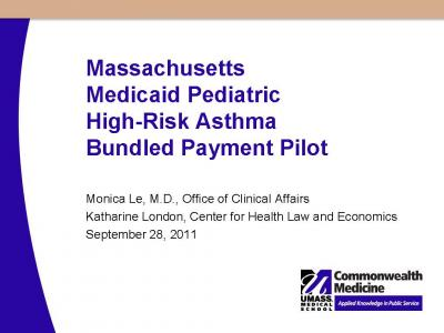 Cover of Massachusetts Medicaid pediatric high-risk asthma bundled payment pilot