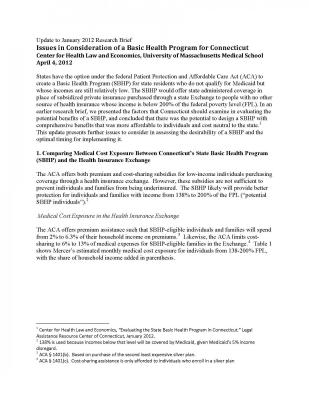 Cover of Issues in Consideration of a Basic Health Program for Connecticut