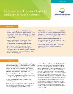 Cover of Consequences of Proposed Eligibility Reduction of HUSKY A Parents
