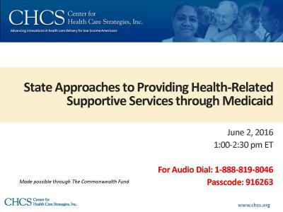 Cover of State Approaches to Providing Health-Related Supportive Services through Medicaid
