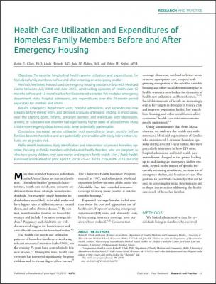 Health Care Utilization and Expenditures of Homeless Family Members Before and After Emergency Housing cover